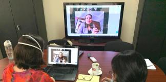 La subsecretaria Gabriela Guzmán participó en una reunión virtual con la secretaria de CONAMIGUA, Rita Elizondo.
